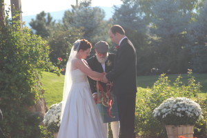 A customized Colorado Irish wedding ceremony at the Colorado wedding venue Brookside Gardens