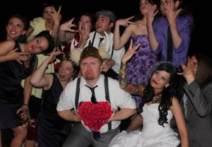 A fun wedding photo booth group wedding picture at the historic Boulderado Hotel for this Boulder wedding couple