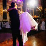 A spotlight on the bride and groom as they have their awesome grand entrance