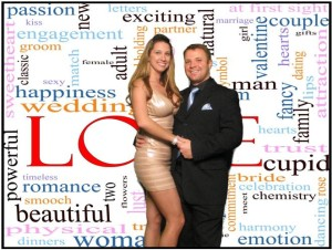 A customized wedding photo background for this Colorado wedding complete with the red carpet and red velvet ropes as provided by Colorado wedding photo booth company Amore Interactive Photo Booth.