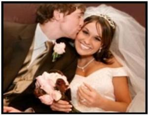 Romantic wedding kiss by a Groom on his Colorado Bride