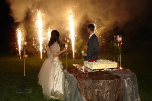 Memorable wedding exit for the Bride and Groom with sparklers