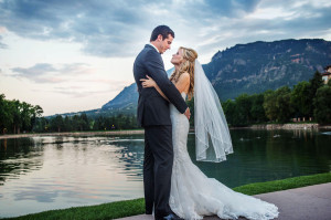 Colorado lake wedding of a romantic couple embracing as captured by Colorado wedding photographer Selah Photography